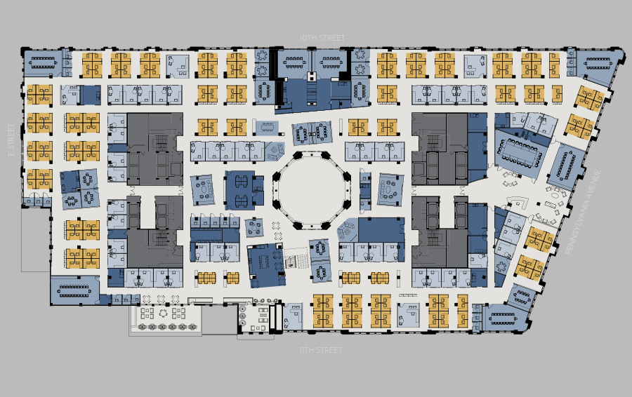 open office floor plans. fifth floor open office plan 1001 Pennsylvania Avenue  Floor Plans